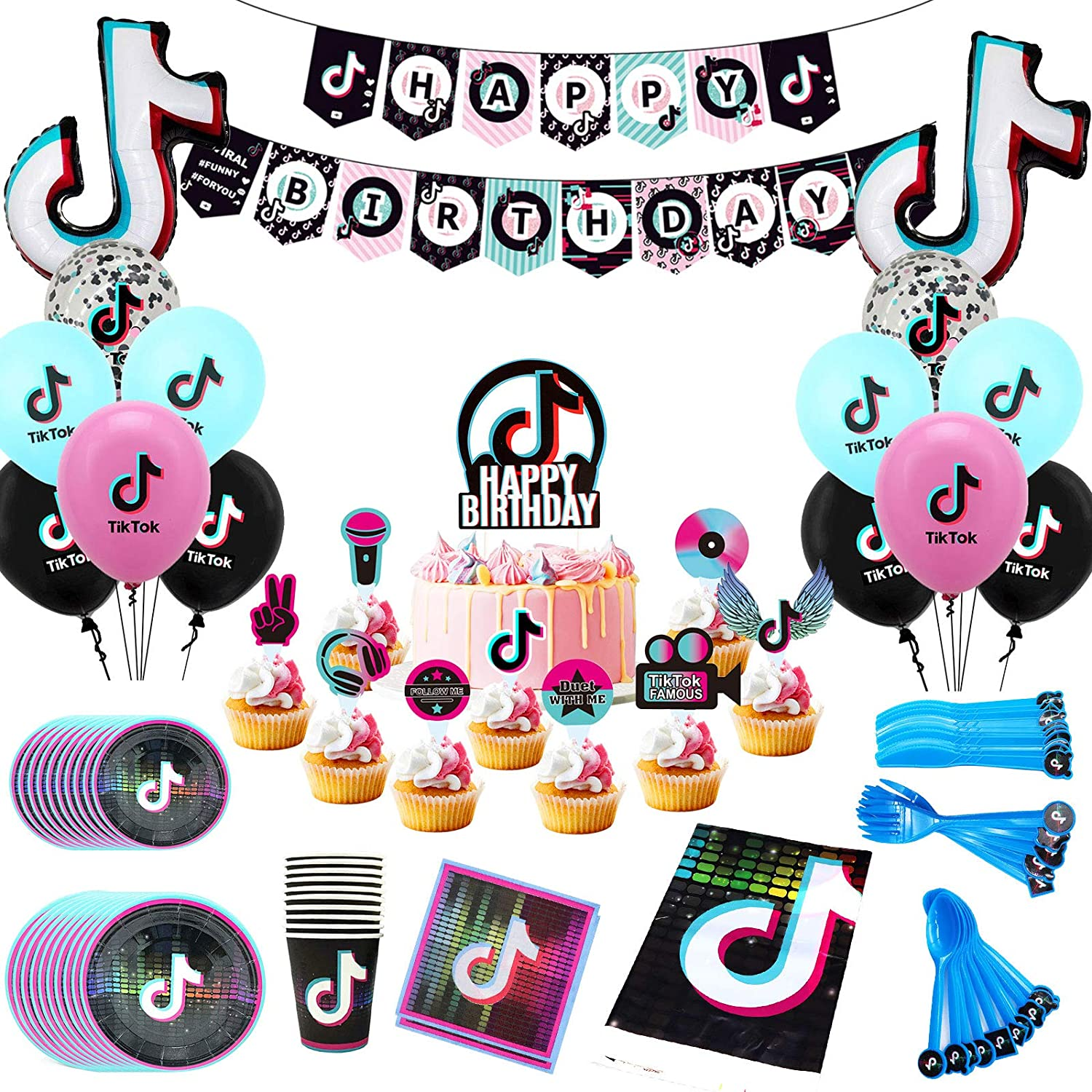 Tik Tok Birthday Party Supplies Happy Birthday Banner, Balloons, Cake Toppers Decor Plates, Forks, Napkins, Tablecover for Kids for Short Video Music Social Media Party Boys Girls Rock Roll Birthday Party Decorations 131 Pack