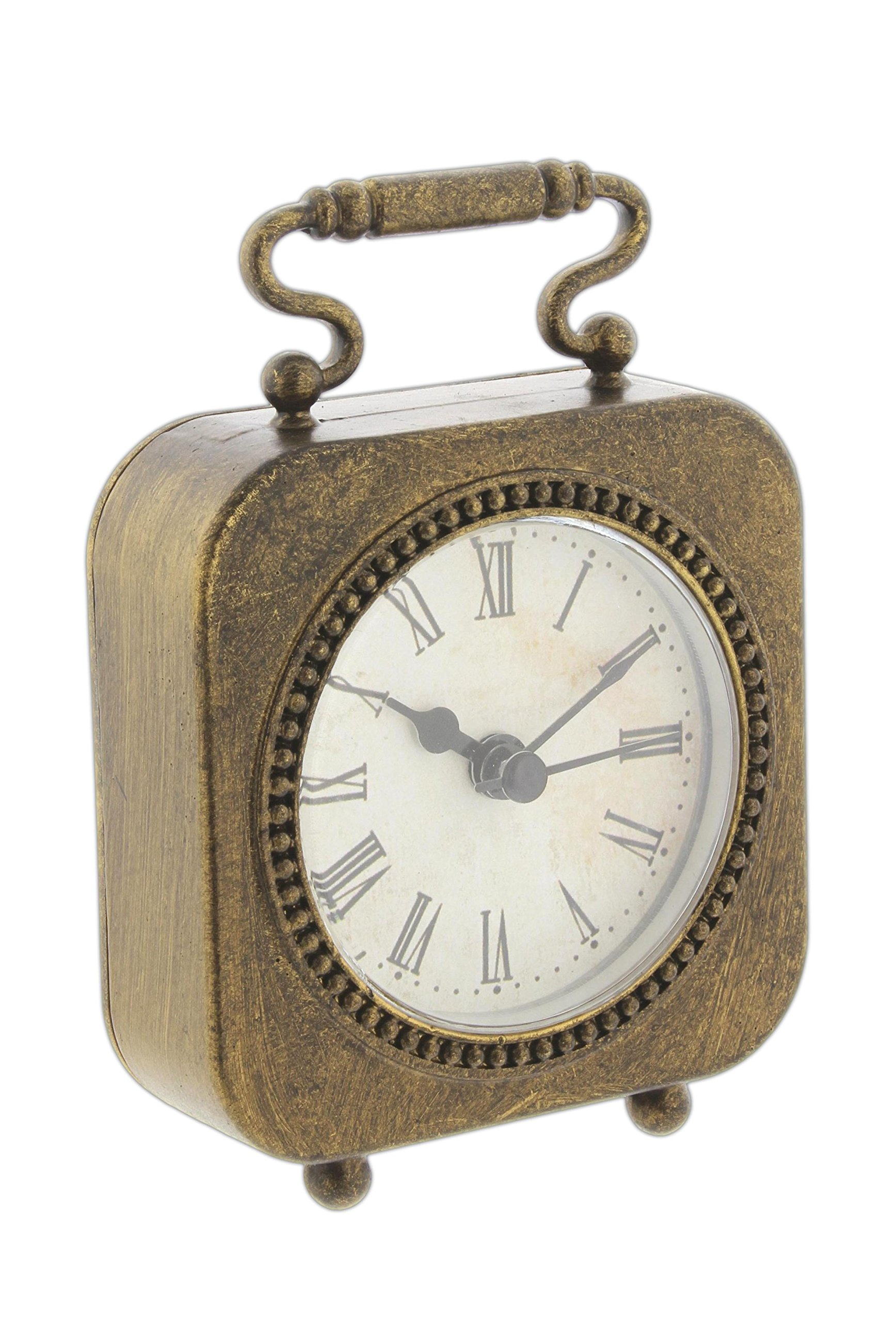 "Park Hill Mini 4"" Antique Style Bronze-Tone Metal Table Clock -  - clocks, bedroom-decor, bedroom - 810EvrwuhPL -"
