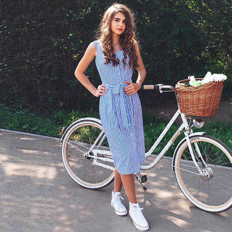 MOIKA Damen kleid, New Damen Party Blau gestreiftes Kleid Sommer ...