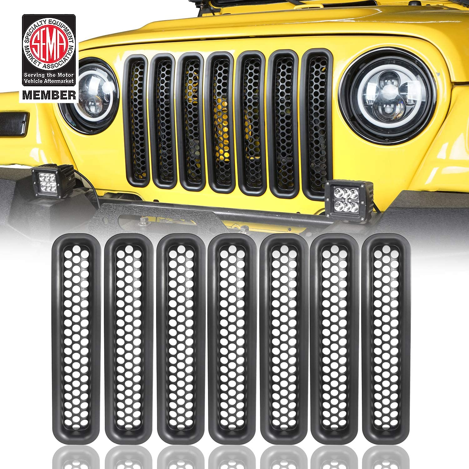 Pack of 7 Black Front Grille Mesh Inserts for 1997-2006 Jeep Wrangler TJ /& Unlimited