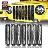 Hooke Road Wrangler Grill Mesh Inserts Front Grille Guard Cover Clip-in Matte Black for 1997-2006 Jeep Wrangler TJ…