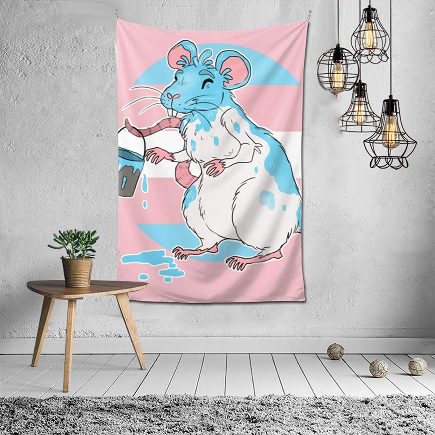 BLACK SP Trans Pride Rat Home Decoration Vintage Hippie Tapestry for Room Wall Hanging Mural Bedroom Living Room Blanket Dormitory Fashion Wall Art 60x40in