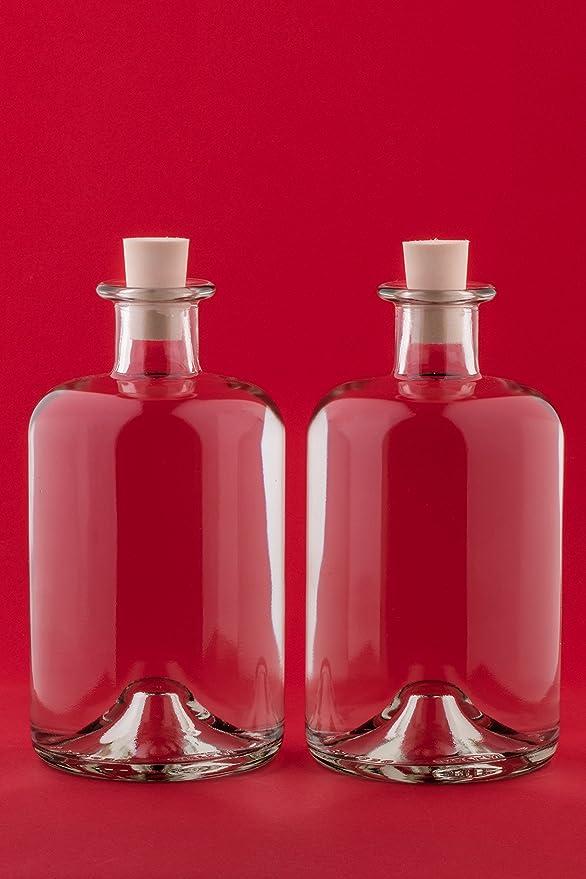 Casavetro Tapón de corcho transparente Botellas de vidrio vacías 1000 ml - Tapas de corcho recargables reutilizables - Apretado al aire para endrinas ...