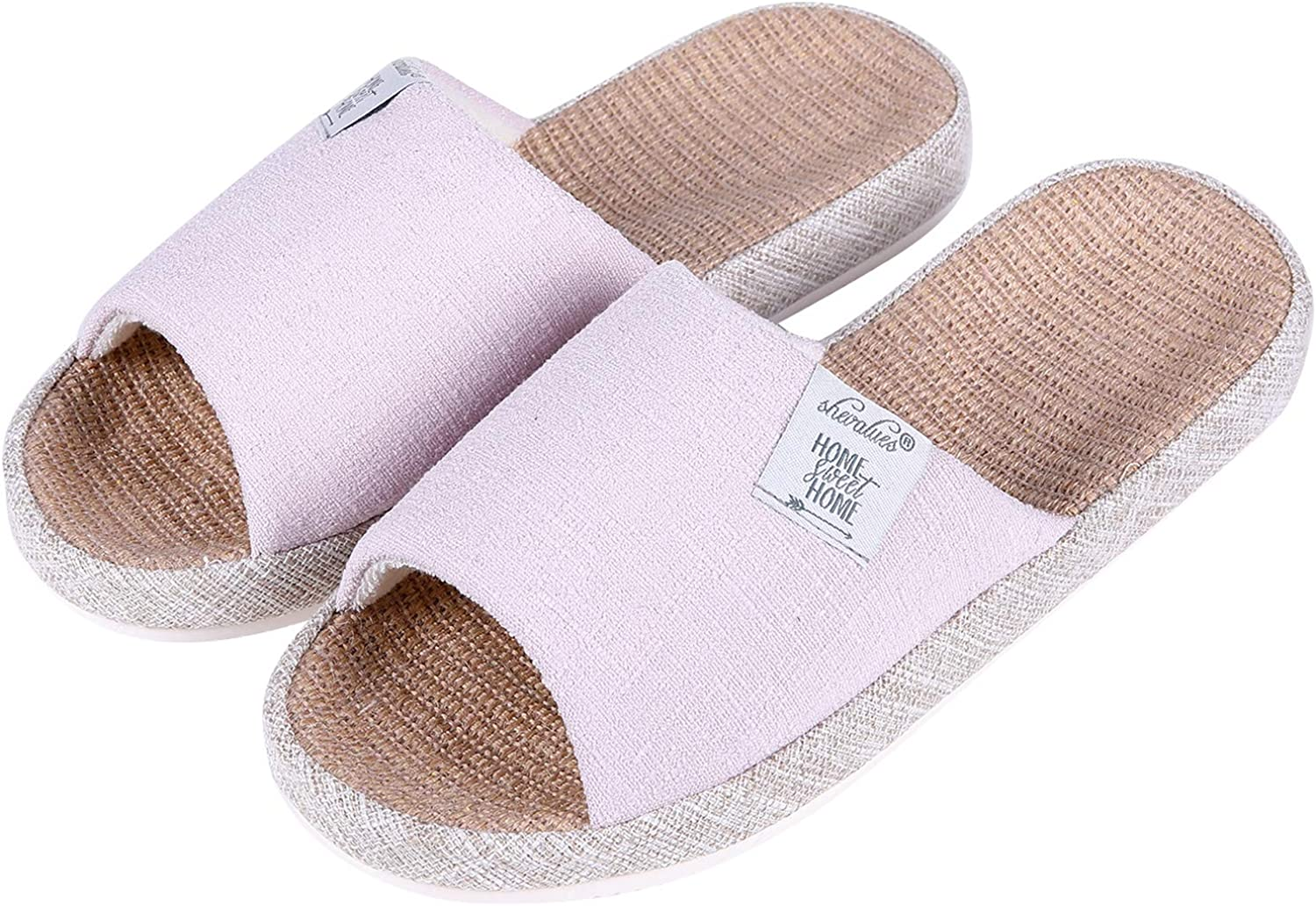 shevalues Women's Open Toe House Slippers Arch Support Lightweight Linen Slippers