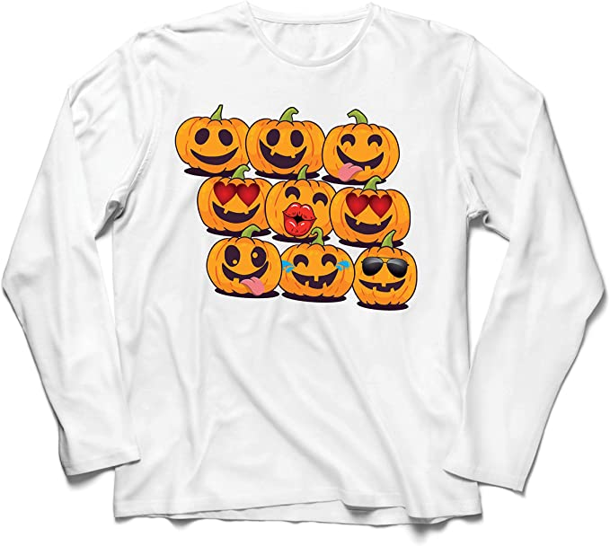 lepni.me Camiseta de Manga Larga para Hombre Calabaza Emoji ...
