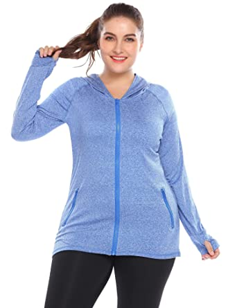 ee8d65e8eeb Elever Women Stretchy Running Workout Full Zip Hooded Jacket Plus Size Blue