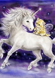 Toland Home Garden Legendary Friends 12.5 x 18 Inch Decorative Mystical Flying Unicorn Kitty Cat Garden Flag