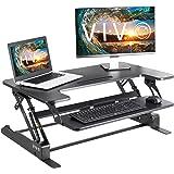 "VIVO Height Adjustable Standing Desk Sit to Stand Gas Spring Riser Converter | 36"" Tabletop Workstation fits Dual…"