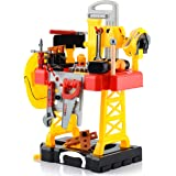 Toy Choi's 83 Pieces Kids Construction Toy Workbench for Toddlers Kids Workbench Construction Tool Bench Set, Boys Toy…