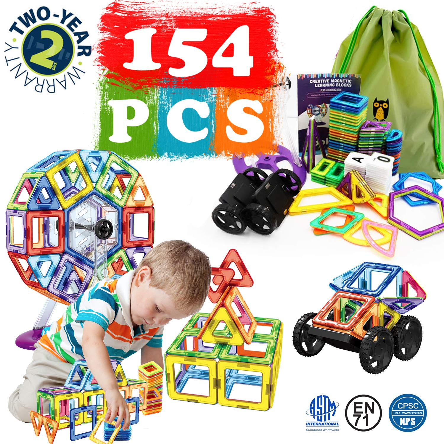 154 Pcs Magnetic Tiles Building Blocks Set for Kids Magnetic Tiles STEM Preschool Educational Construction Kit for Kids Toddlers Children Birthday Xmas Gift for 2,3,4,5,6,7 Year old Boys Girls by Bi-Smart