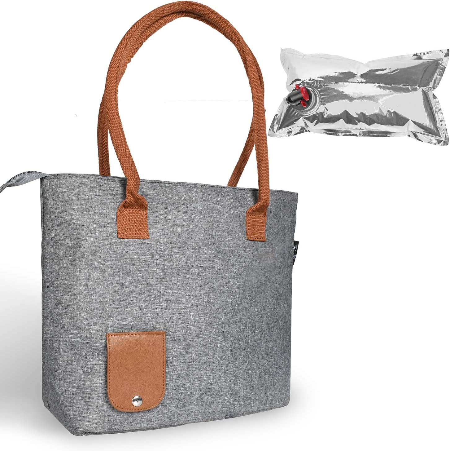 Wine Tote Bag with Hidden Dispenser, Insulated Large Wine Carrying Carrier Set with Wine Bladder, Perfect Wine Gift for Byob, Movie Theater, Concert, Sport Events, Pool & Beach, Grey