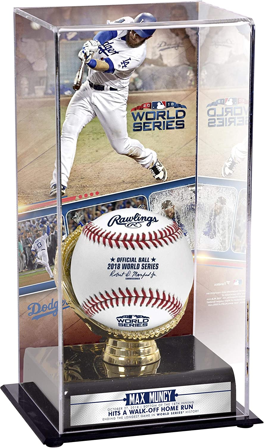 Max Muncy Los Angeles Dodgers 2018 World Series Game 3 Walkoff Home Run Sublimated Display Case with Image - Baseball Display Cases No Logo