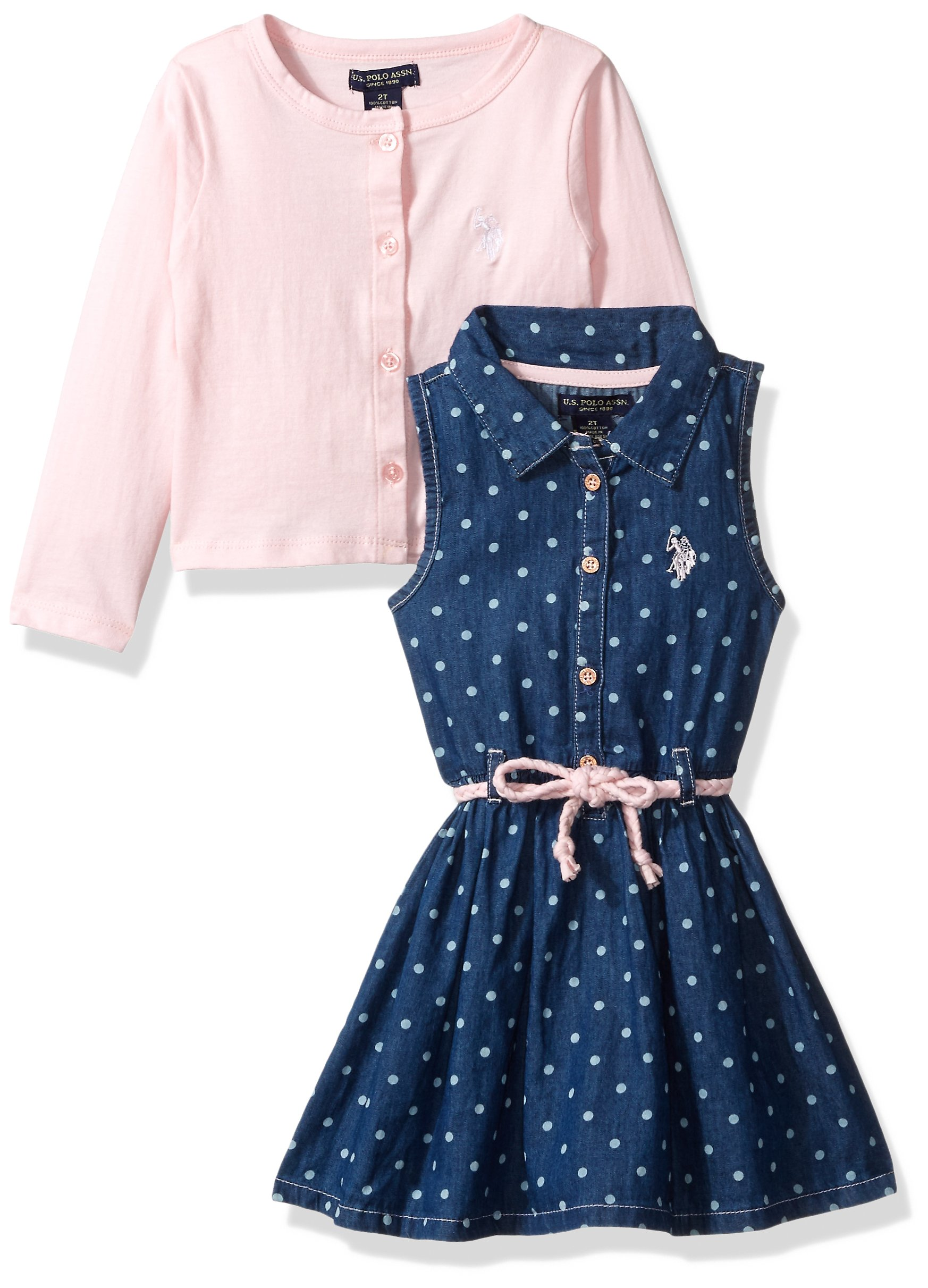 U.S. Polo Assn. Toddler Girls' Dress with Sweater Jacket, Denim Polka Dots Rose Shadow, 4T by U.S. Polo Assn.