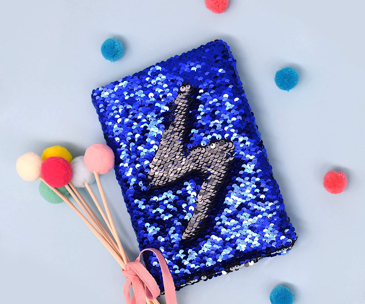 Secret Kids Diary Personalized Notebook A5 Size 160 Lined Pages EverCreatives Magic Reversible Flip Sequin Girls Journal Blue to Sliver