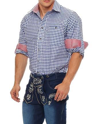 more photos 81884 27738 Gennadi Hoppe Trachten Herren Hemd Trachtenhemd kariert Wiesn Oktoberfest  (XXL, blau/weiß)