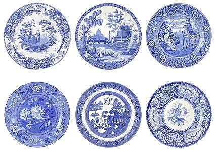 Spode Blue Room Georgian Plates Set of 6 Assorted Motifs  sc 1 st  Amazon.com & Amazon.com | Spode Blue Room Georgian Plates Set of 6 Assorted ...