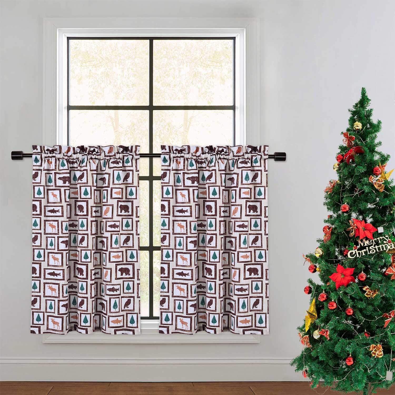 CAROMIO Tier Curtains for Kitchen, Animals Forest Farmhouse Home Decor Curtains for Cafe Kitchen Bathroom Window Curtains, Animals