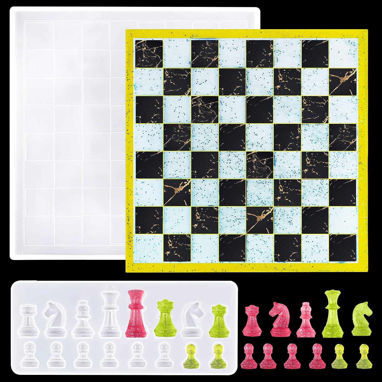 juego de moldes de resina silicona tablero y piezas ajedrez