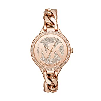 67881329ec32 Image Unavailable. Image not available for. Color  Michael Kors Women s 38mm  Rose Goldtone Pav  Slim Runway Chain Link Watch