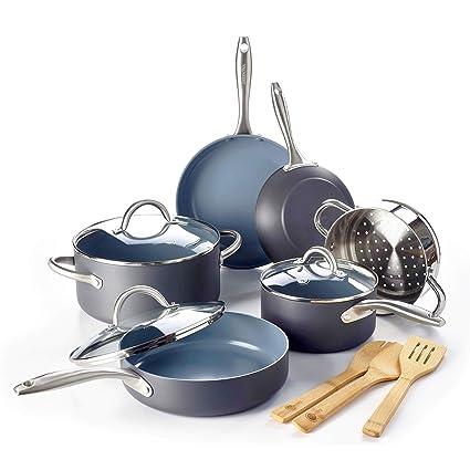 cd39e891dbe0 Amazon.com: GreenPan Lima Ceramic Non-Stick Cookware Set, 12pc: Kitchen &  Dining