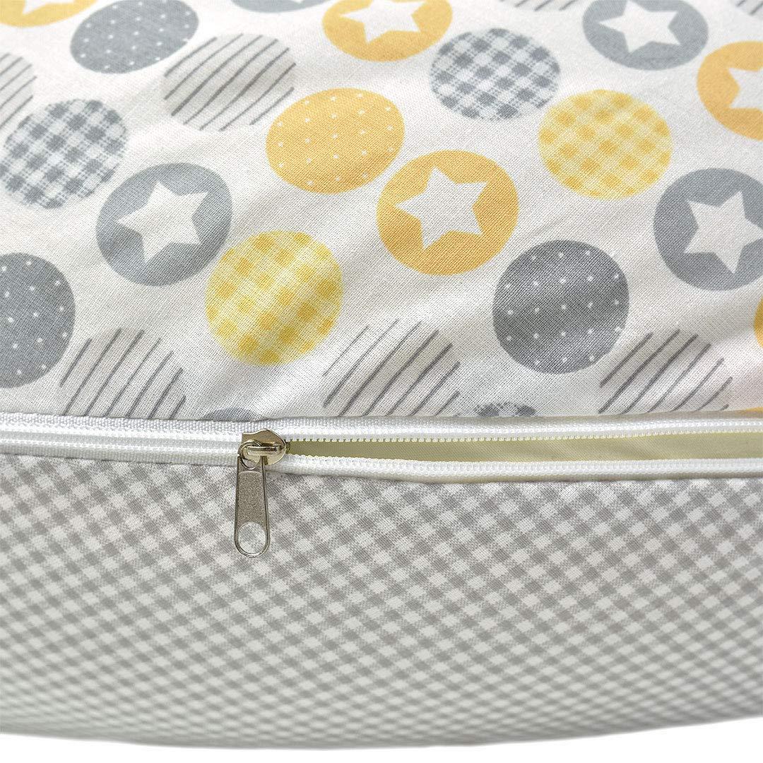Stillkissen 190x30 Sei Design Patchwork Kreise taupe mit Klickverschluß
