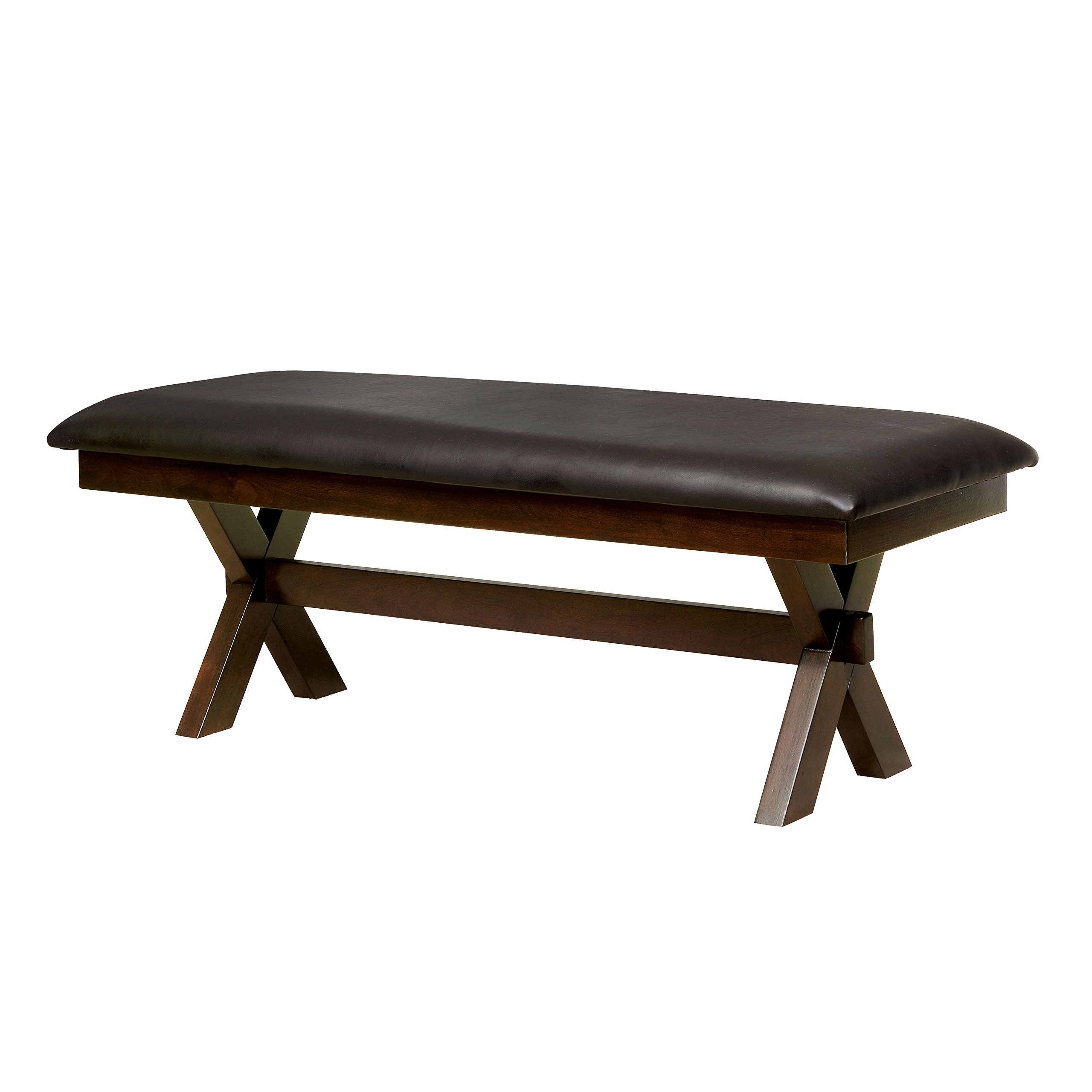 HOMES: Inside + Out IDF-3163BN Housten Transitional Leatherette Bench