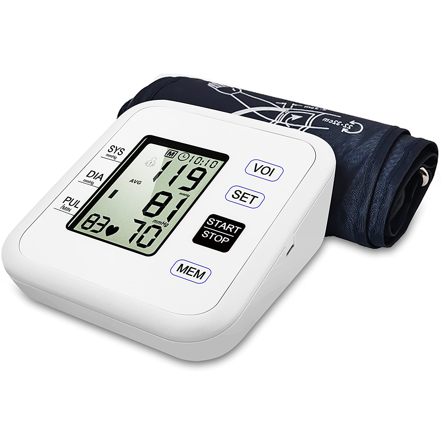 Blood Pressure Monitor Upper Arm Digital Voice Smart BP Meter with Large Display FDA Approved Included Storage Bag by Kimitech