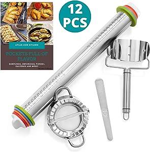 Dumpling Maker Set Includes Rolling Pin With Thickness Rings, Dumpling Press, Dumpling Maker, And Dumpling Cutter   Molde Para Empanadas   Cooking Gift Set