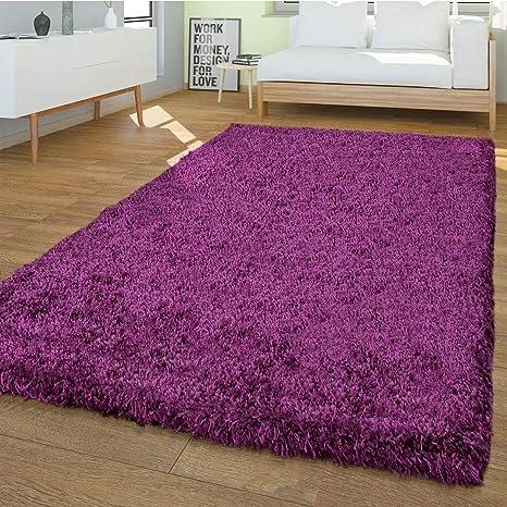 T&T Design PHc Shaggy Tapis Moderne Uni Uni Salon Doux Violet,  Polypropylène, 133 x 190 cm