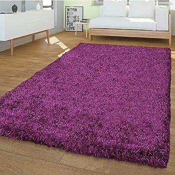 T&T Design PHc Shaggy Tapis Moderne Uni Uni Salon Doux Violet ...