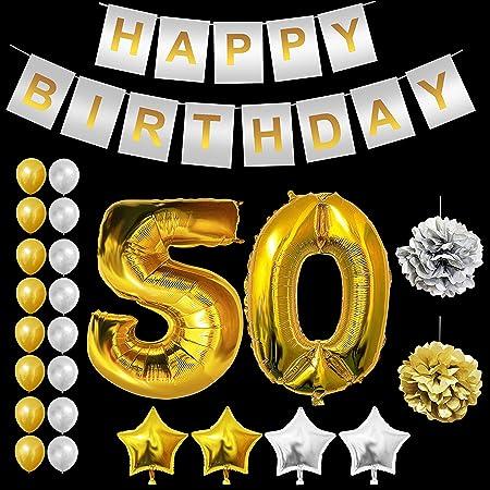 50 Cumpleaños Globos Decoración - 50 Dorados Globo, Happy Birthday Pancarta, Globos de Estrella, Dorados y Plata Globos de Latex, Pom Poms Apto para ...