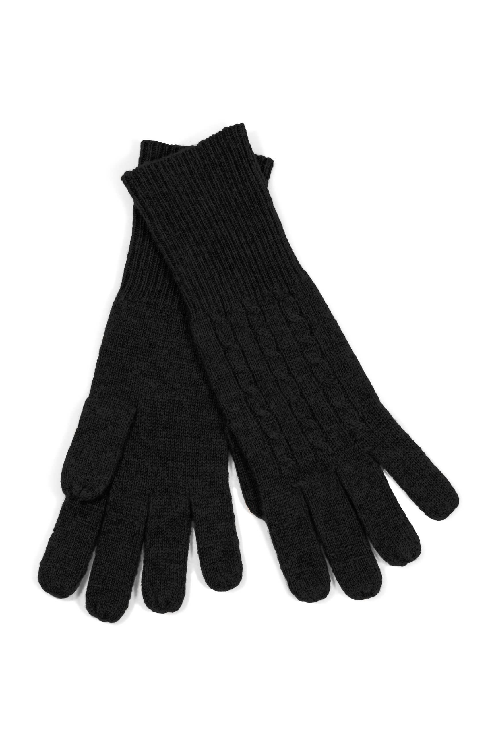 Fishers Finery Women's 100% Pure Cashmere Gloves, Cable with Extended Cuff Black