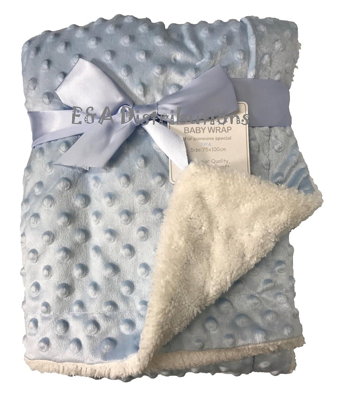 Superbe couverture de luxe ultra-douce bi-matière avec effet mini-pompons et doublure sherpa (75x 100cm) E&A Distribution Limited
