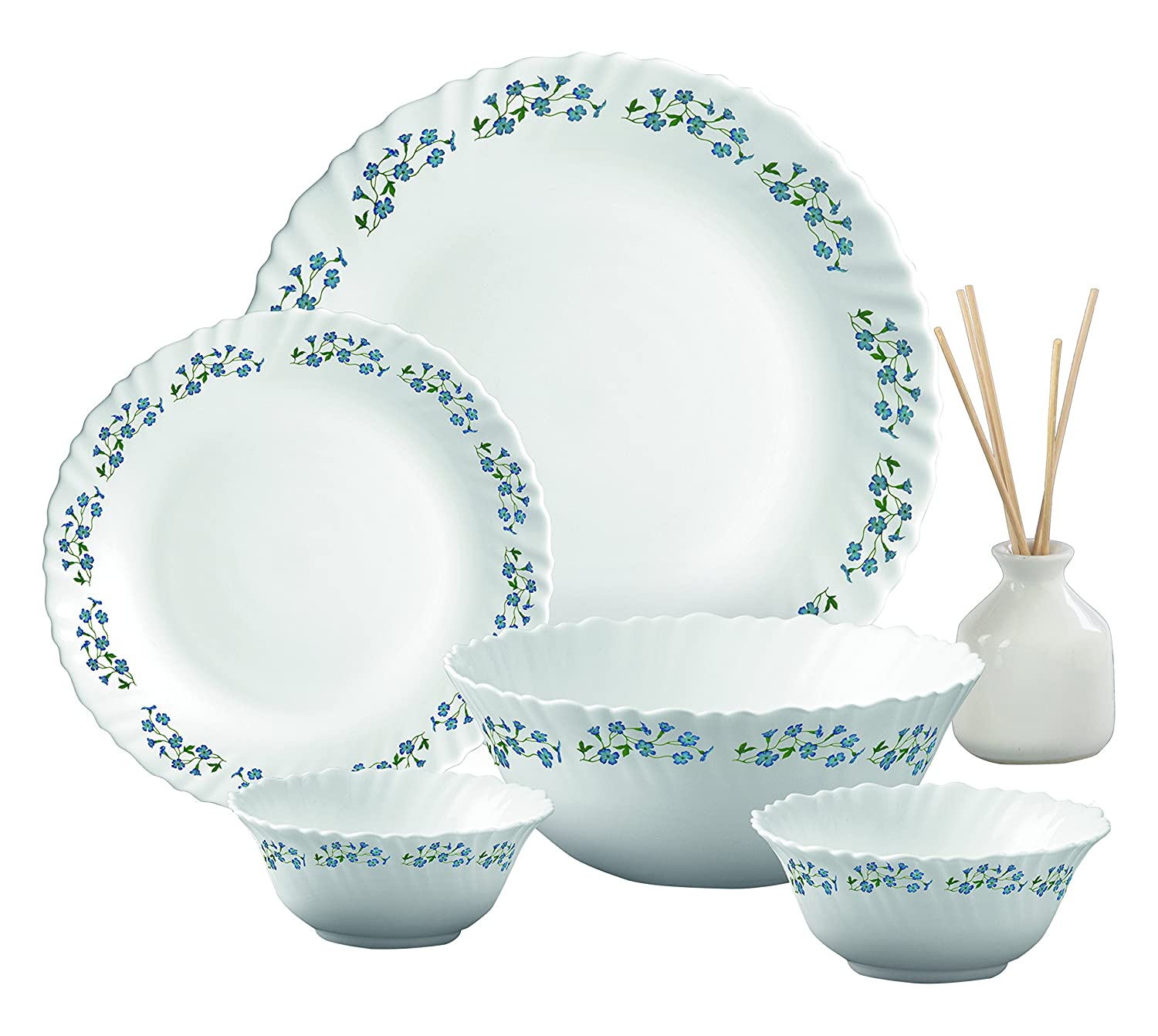 LaOpala Dew Dinner Set, 27-Pieces, White/Lavender