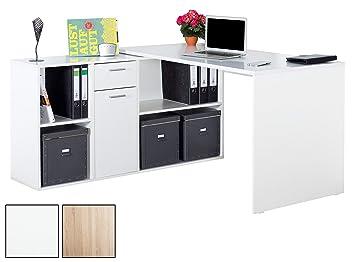 Eckschreibtisch holz weiß  RICOO Winkelkombination Schreibtisch Weiss Arbeitstisch Computer ...
