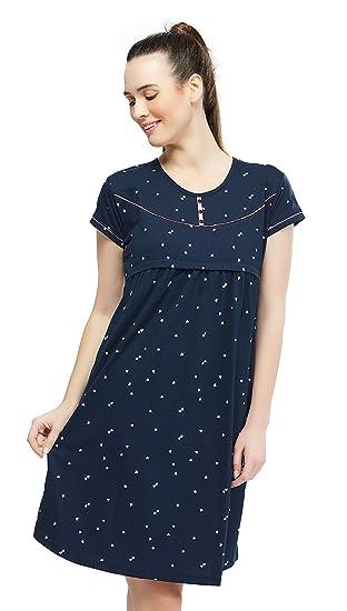 09a25a5de3513 ZEYO Women's Cotton Maternity Dress | Heart Print Feeding Night Dress
