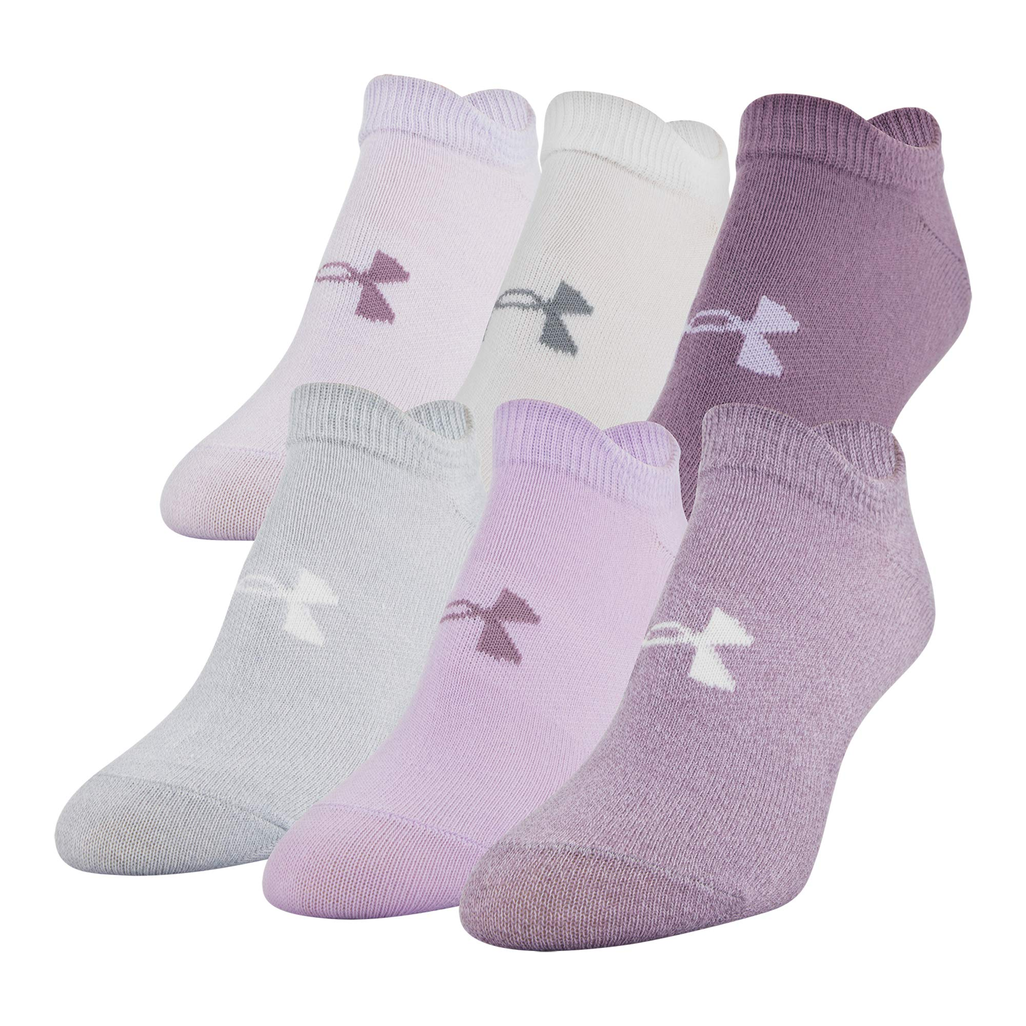 Under Armour Women's Essential 2.0 No Show Socks, 6-Pair, Purple Assorted, Shoe Size: 6-9 by Under Armour