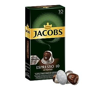 Jacobs Nespresso OriginalLine Compatible ALUMINIUM Capsules Espresso Intensity 10 Intenso 10 Single Servings (Pack of 5)