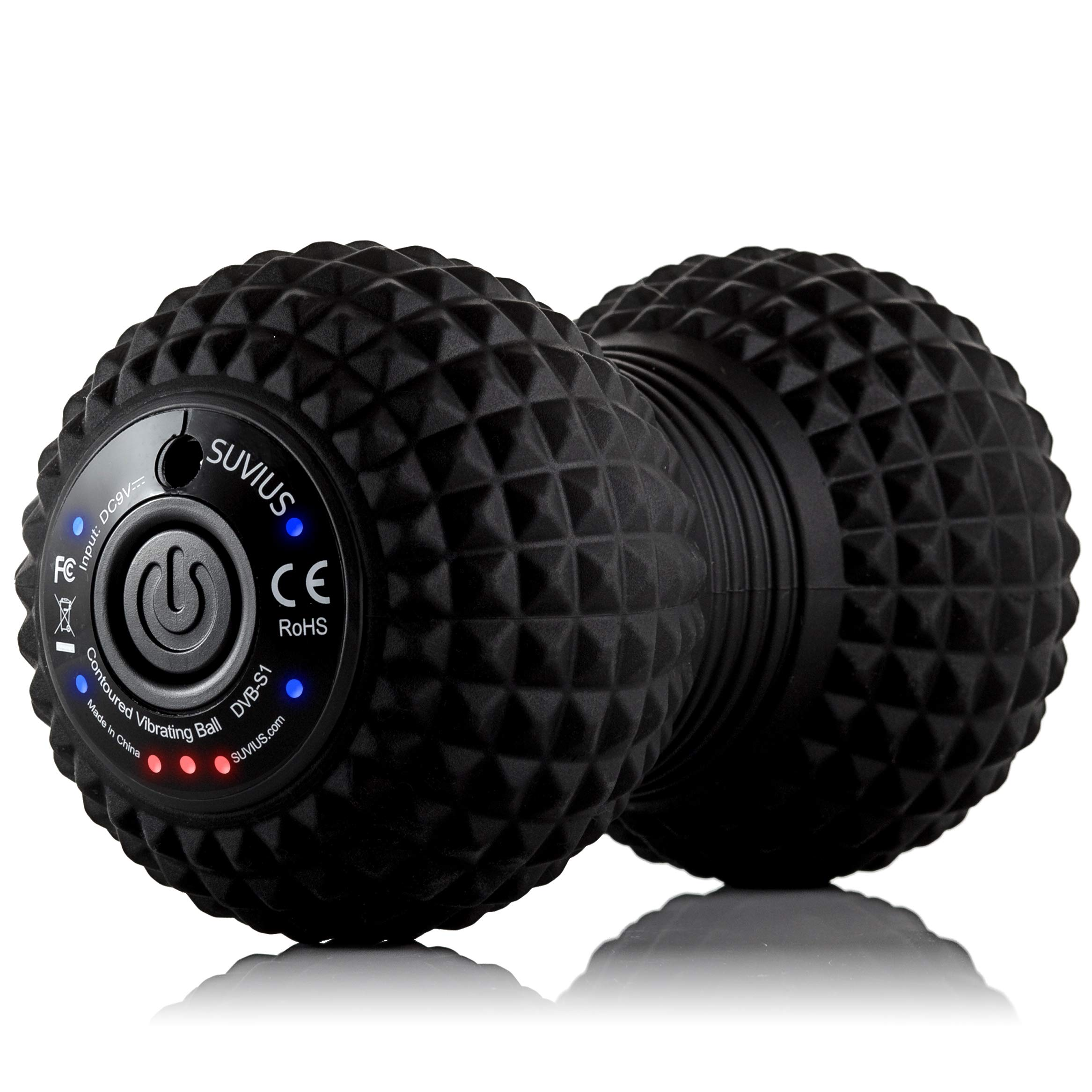 SUVIUS Peanut Electric Vibrating Rechargeable Foam Roller - 4 Intensity Levels for Firm Battery-Powered Deep Tissue Recovery, Training, Massage - Therapeutic Back and Muscle Massage Roller (Black) by SUVIUS