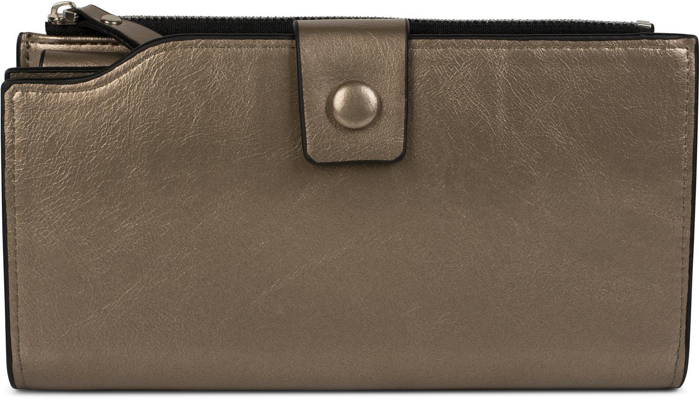 femmes 02040100 couleur:Bleu fonc/é styleBREAKER Porte-monnaie brillant avec bouton-pression et fermeture /à glissi/ère s/épar/ée portefeuille
