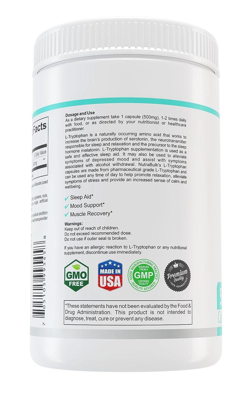Amazon.com: nutrabulk Premium L-Triptófano 500 mg cápsulas ...