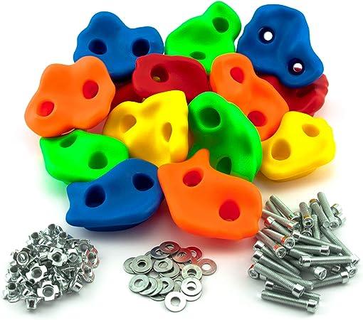 GO!elements 15 presas de Escalada Kids Set Outdoor Incl. Material de fijación | Piedras de Escalada para Paredes | Piedras de Colores para Torres de ...
