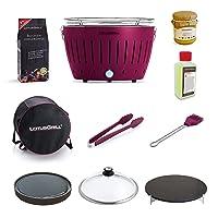 Grill-Set Lotusgrill Grill-Set kleiner Schwarz Grill Zusammenstellung Camping Balkon Picknick ✔ rund ✔ tragbar rauchfrei ✔ Grillen mit Holzkohle ✔ für den Tisch