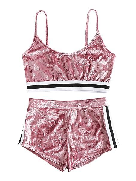 ec8bb11767d2 SweatyRocks Women's 2 Piece Velvet Spaghetti Strap Crop Tank Top and Shorts  Set Tracksuits at Amazon Women's Clothing store: