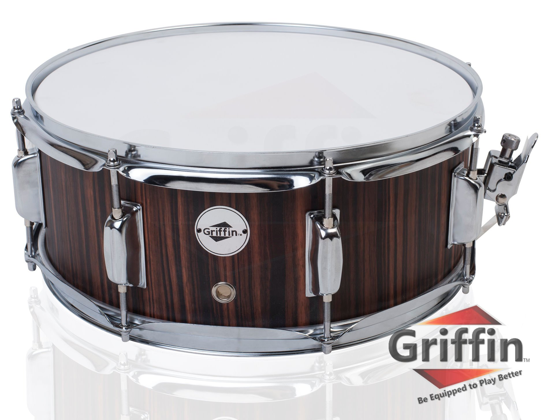 Snare Drum by Griffin | Black Hickory PVC Glossy Finish on Poplar Wood Shell 14'' x 5.5'' | Percussion Musical Instrument with Drummers Key for Students & Professionals | 8 Lugs & Deluxe Snare Strainer by Griffin