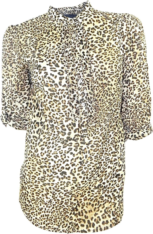 Zara marrón estampado Animal, diseño blusa con 3/4 largo manga
