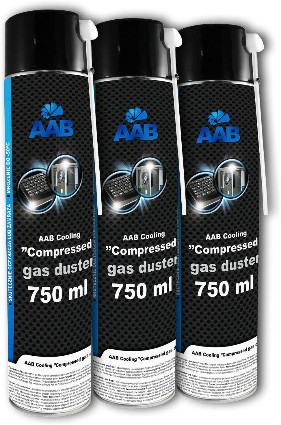 3 x AAB PC Spray Limpiador 750ml para Limpiar Teclados, Ordenadores, Copiadoras, Cámaras, Impresoras y Otros Equipos Eléctricos, Duster, Eliminación de Polvo, Aire Comprimido, Botella, Soplador