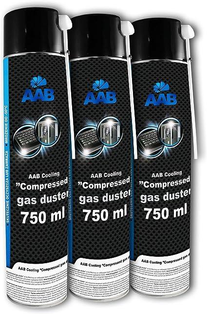 3 x AAB PC Spray Limpiador 750ml para Limpiar Teclados, Ordenadores, Copiadoras, Cámaras, Impresoras y Otros Equipos Eléctricos, Duster, Eliminación ...