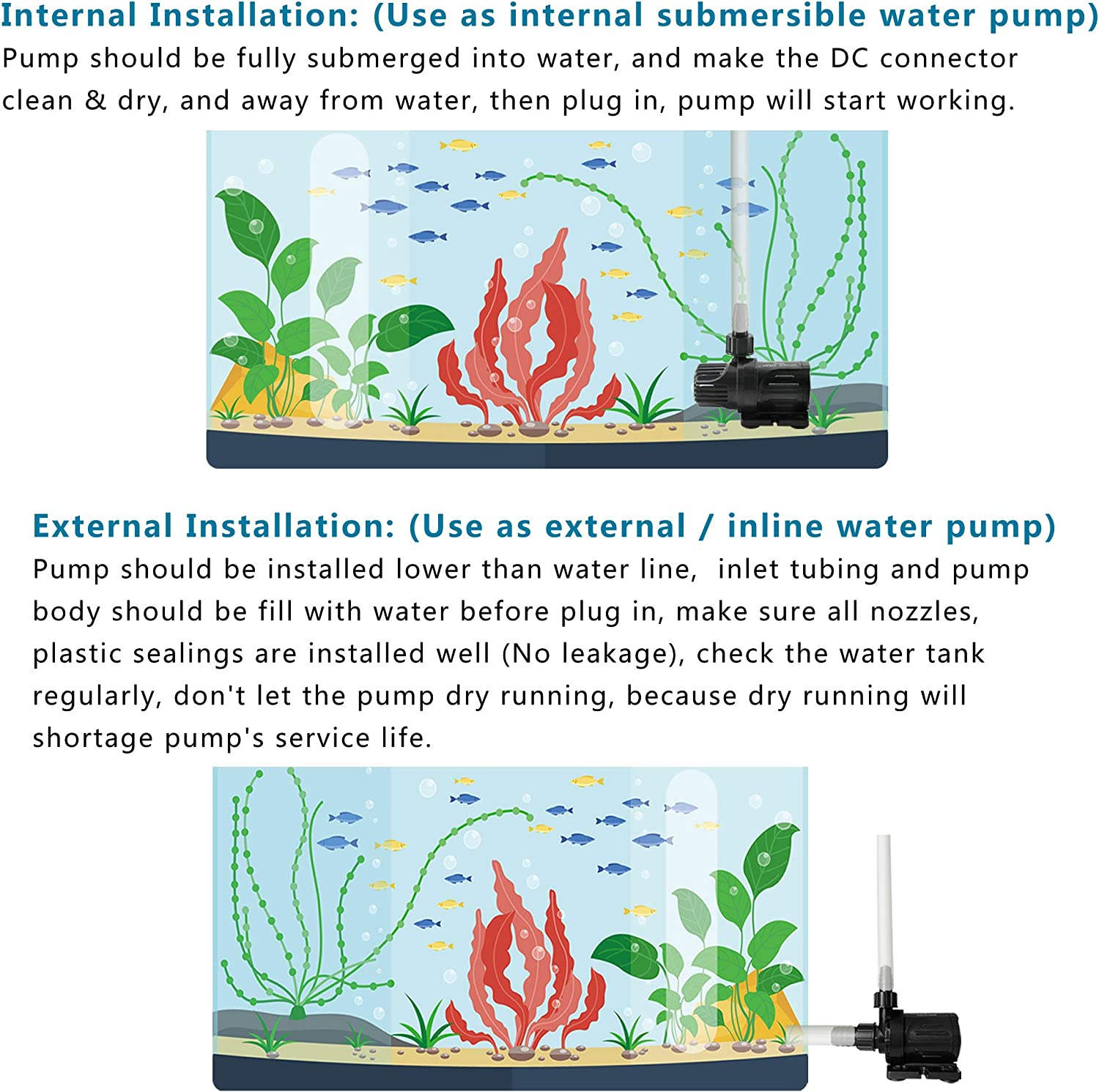 Ponds Hydroponics and Drainage PULACO DC 24V Submersible Water Pump 300 GPH 20 ft Aquariums Fountains Ultra Quiet Fountain Pump for Fish Tanks Safety /& Energy Saving, Anti-Electric Shock
