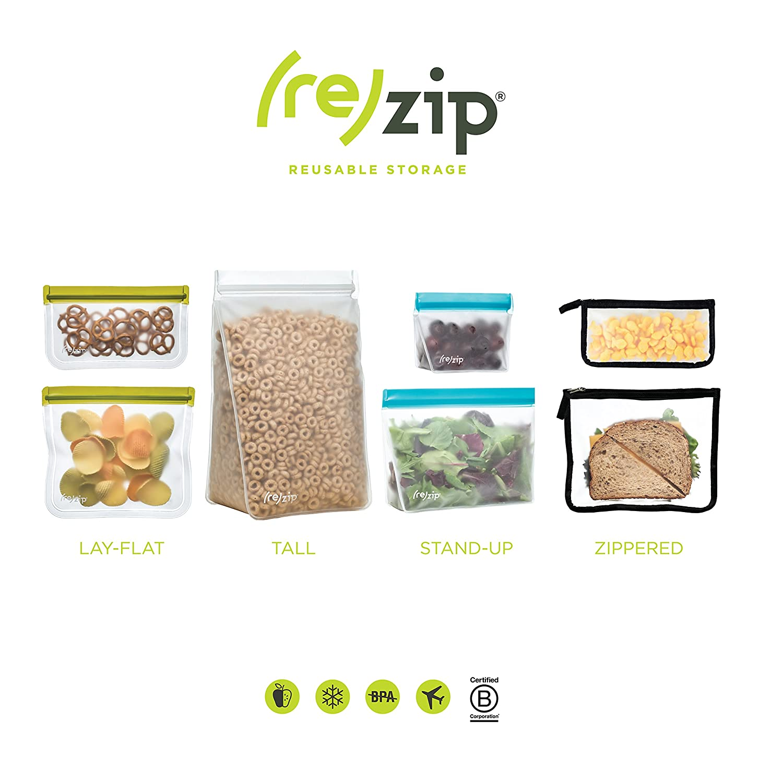 00cd738a32b Amazon.com: rezip Ultimate 10-piece Reusable Storage Bag Kit (Moss  Green/Orange): Kitchen & Dining